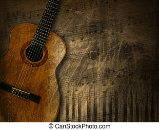 Acoustic Guitar on Grunge Background - Acoustic brown guitar...