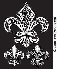 Vintage Heraldry Fleur De Lis Set - fully editable vector...