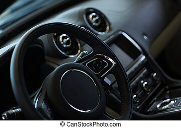 Car steering wheel - Interior view of car with black salon