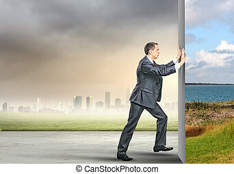 Reality change - Image of young business man changing...