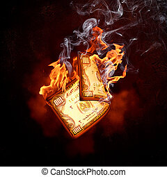 Dollar banknote in fire flames - One hundred dollar burning...
