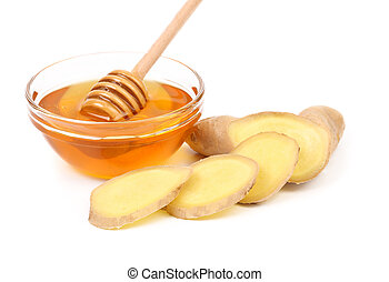 Root Ginger sliced and bow of honey White background