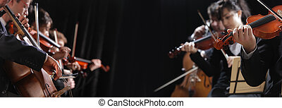 Classical music - Symphony concert, a man playing the cello,...