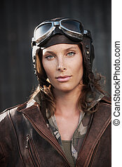Female aviator: fashion model portrait - Portrait of young...