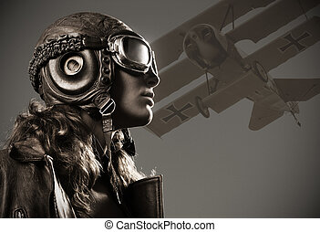 Woman aviator: fashion model portrait - Portrait of young...