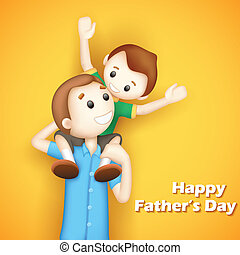 Father and son in in Fathers Day - illustration of father...
