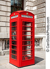 Telephone booth London, UK - Red telephone box in London...