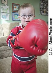 Little boy boxing - Little boy playing with boxing gloves