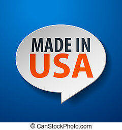 Made In USA 3d Speech Bubble on blue background