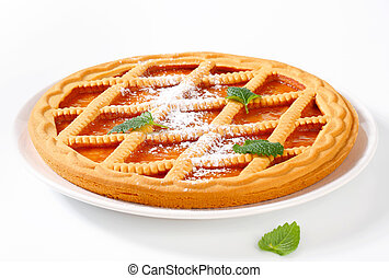 Lattice topped apricot crostata - Round lattice topped...