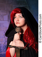 Green eyed sorceress - Vampire gothic woman or sorceress...