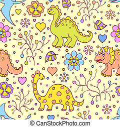 cute dinosaurs - Vector illustration of seamless pattern...