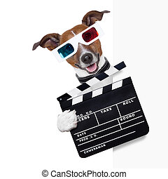 clapper dog - clapper cinema dog behind white banner