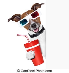 cinema dog - 3d glasses dog with coke with side banner