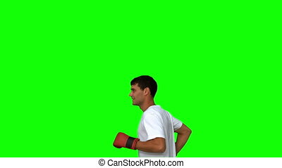 Man wearing boxing gloves on green screen in slow motion