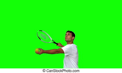 Man serving while playing tennis on green screen in slow...
