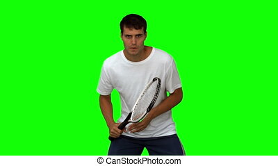 handsome man training while playing tennis on green screen...