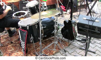 Drummer performing during