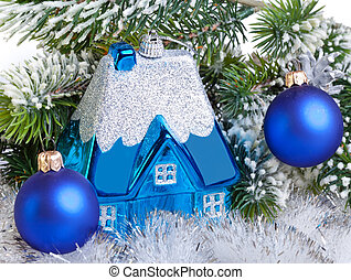 Dark blue New Year's ball and l house - New Year's dream of own house
