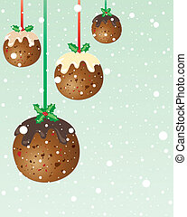 christmas pudding baubles - an illustration in greeting card...