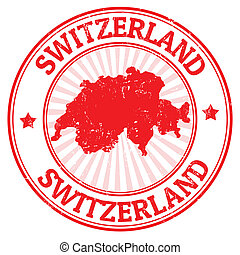 Switzerland stamp - Grunge rubber stamp with the map of...