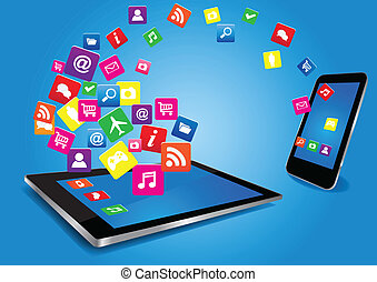 Tablet PC and SmartPhone with Apps - Modern digital tablet...