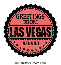 Greetings from Las Vegas stamp - Grunge rubber stamp with...