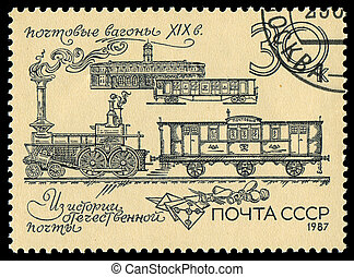 USSR - CIRCA 1987: A stamp printed in the USSR showing old locomotive, circa 1987