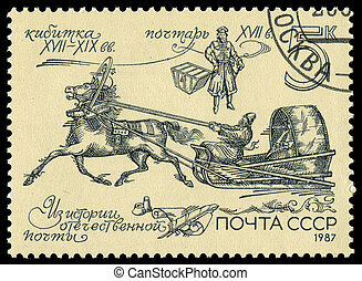 USSR - CIRCA 1987: A Stamp printed in the USSR shows the tilt cart, circa 1987