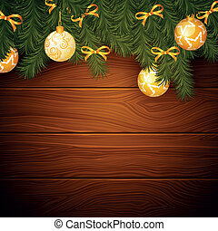 Vector Wooden Background with Christmas Decoration - Vector...