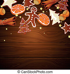 Vector gingerbread cookies and spices over wooden background