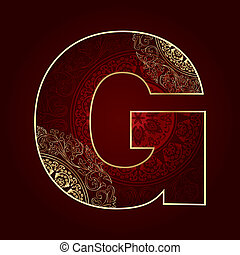 Vintage alphabet with floral swirls, letter G Vector...