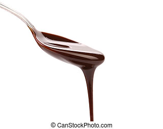 chocolate syrup leaking from spoon on white background with...