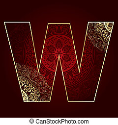 Vintage alphabet with floral swirls, letter W. Vector...