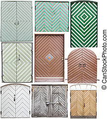 Different old style doors - Set of several different...