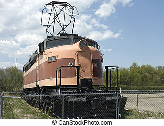 Old Locomotive front view - Front view of an antique...