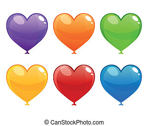 Vector Colorful Heart Balloons - Vector Illustration of...