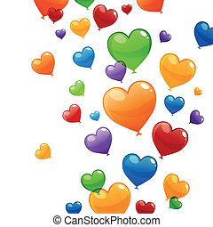 vetorial, Coração, voando, balões, coloridos