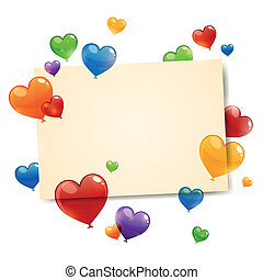 Vector Colorful Flying Heart Balloons - Vector Illustration...