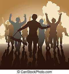 Surrender - Editable vector illustration of a troop of...