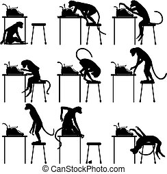 Typing monkeys - Set of editable vector silhouettes of...