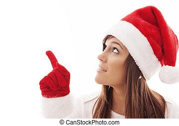 navidad, mujer, Señalar, copia, espacio