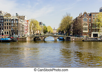 View on houseboats, Amsterdam, the Netherlands - View on the...