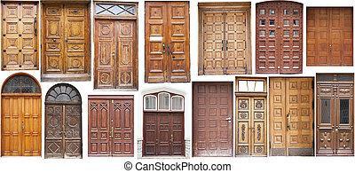 Different old style timber doors - Set of several different...