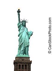 estátua,  NY, branca, isolado, liberdade