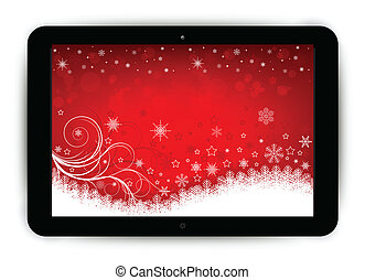 Tablet with Christmas background