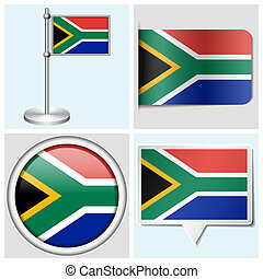 South Africa flag - set of sticker, button, label and...