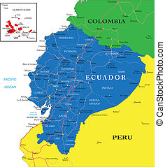 Ecuador map - Highly detailed vector map of Ecuador with...