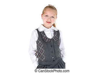 8 year old school girl smiling on white background