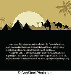 Egyptian pyramids with camels caravan poster - Egyptian...